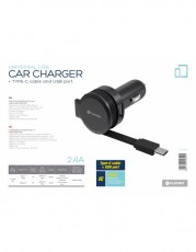 PLATINET CAR CHARGER ROLLING CABLE 2.4A TYPE-C [44652]